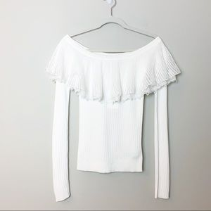 ENGLISH FACTORY White Ruffle Off the Shoulder Top